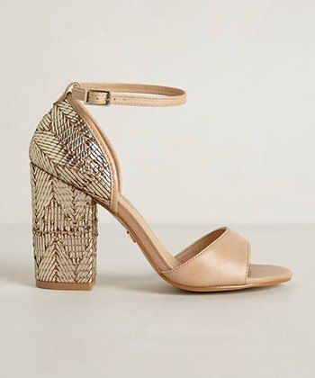 There s something deliciously Art Deco about these gilded chunky heeled  sandals  anthropologie