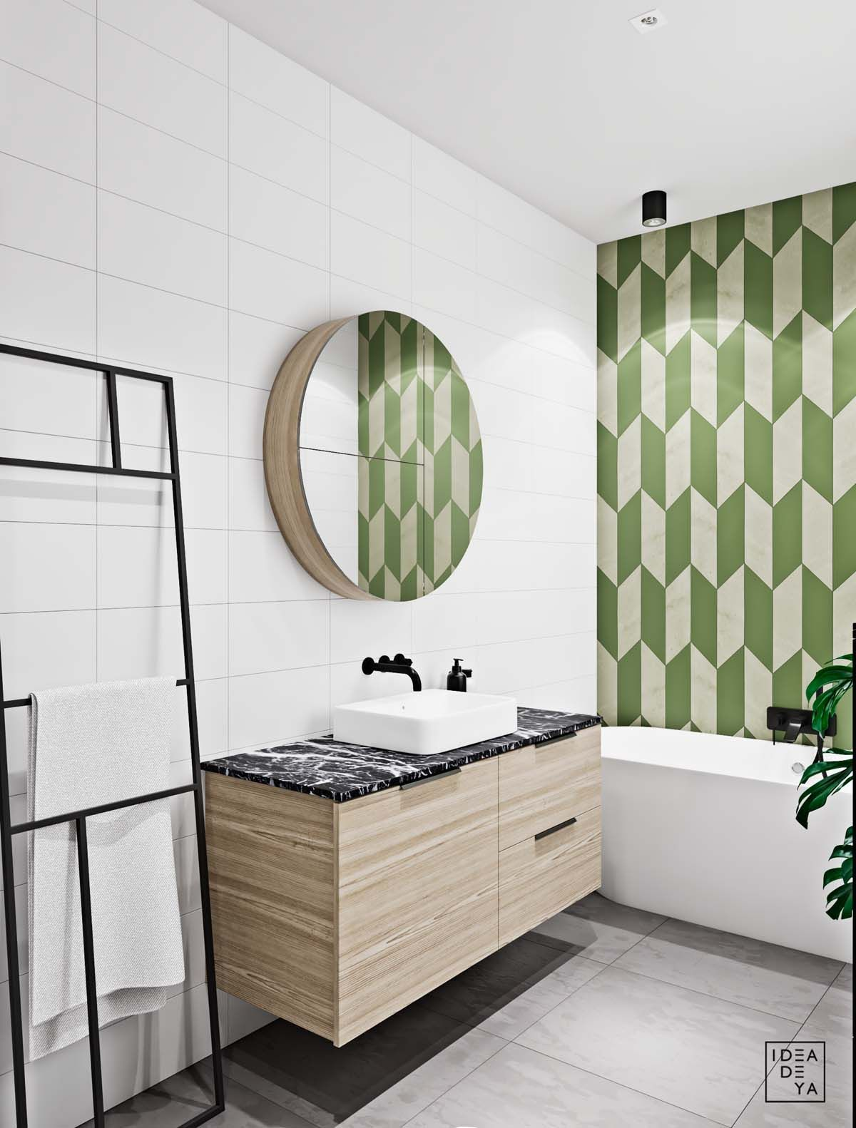 Unusual Home Layout With Creative Accent Colours Bath