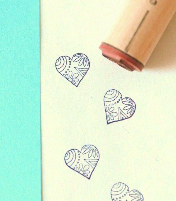 Decorative Heart Rubber Stamp. $3.50, via Etsy.