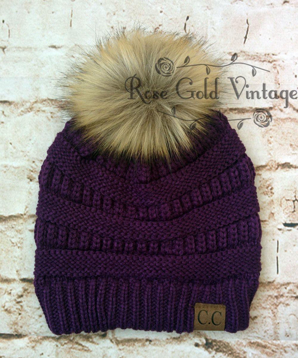 Fur Pom Pom CC Beanie Hats – Rose Gold Vintage  58502b521c6