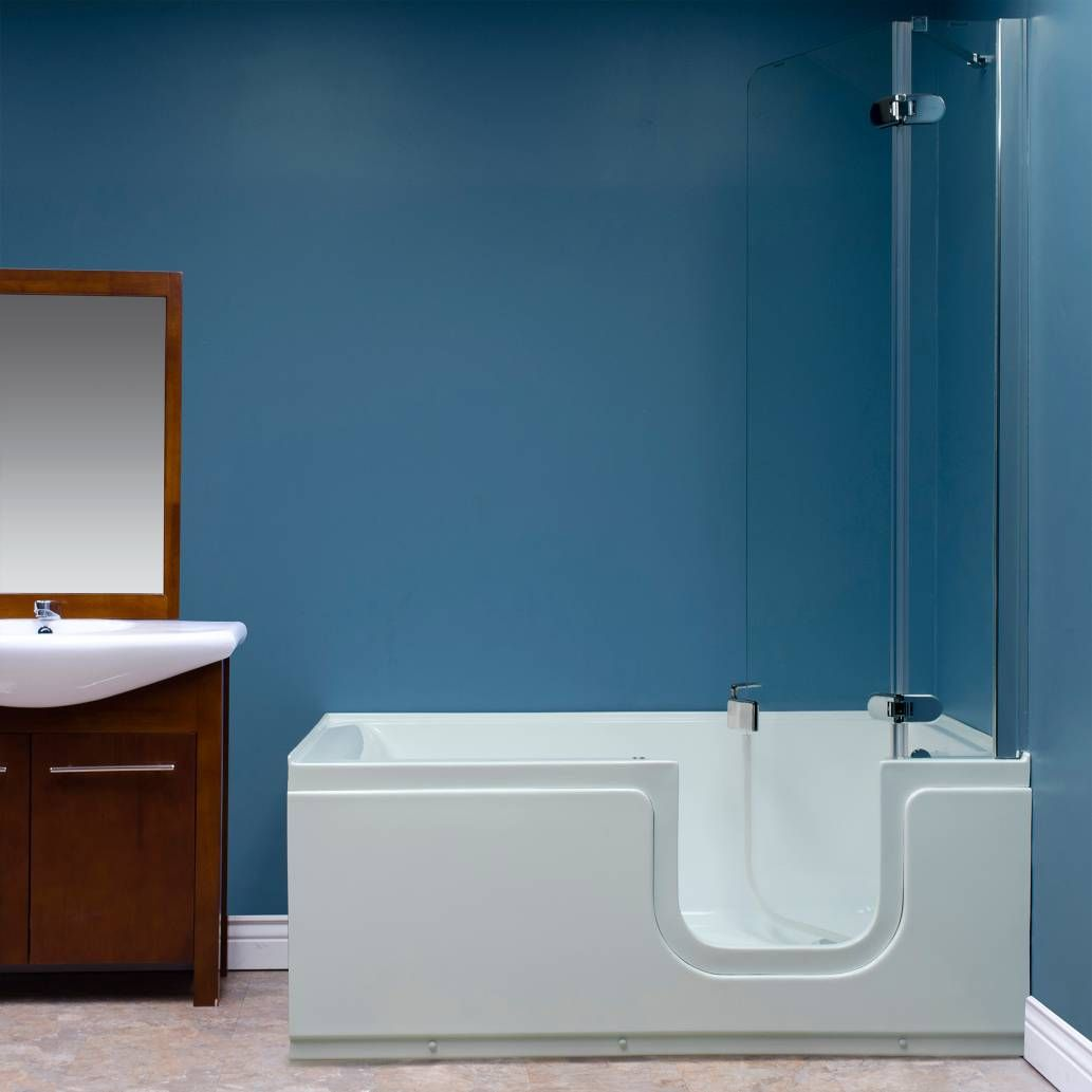 Product Image for Deluxe 59-Inch x 30-Inch Step-In Bath Tub with ...