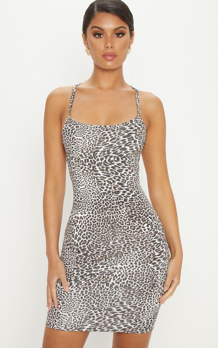 Tan Leopard Print Cross Back Cowl Neck Bodycon Dress Bodycon Dress Neck Bodycon Dress Shop Short Dresses [ 1180 x 740 Pixel ]