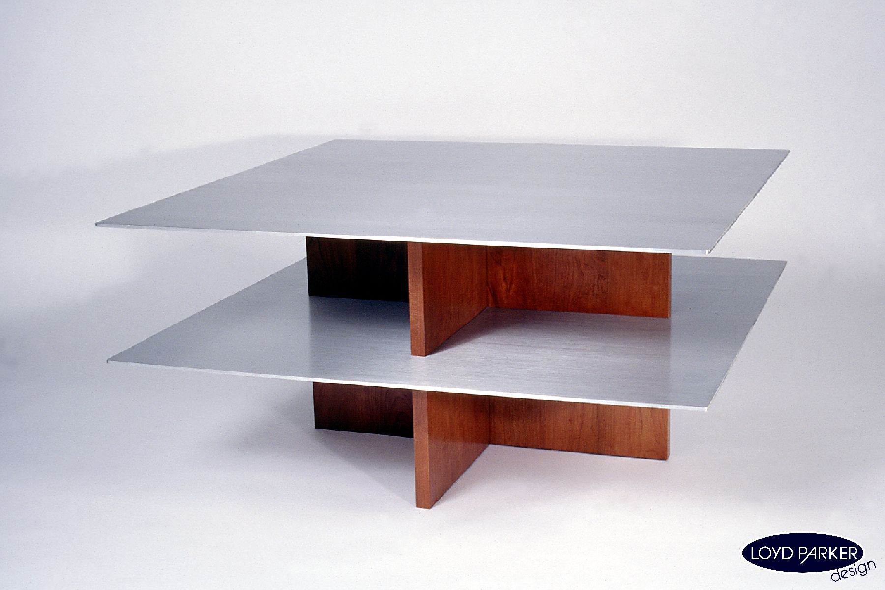 Coffee Table 6 Cherry Wood Brushed Aluminum 36 X 36 X 18