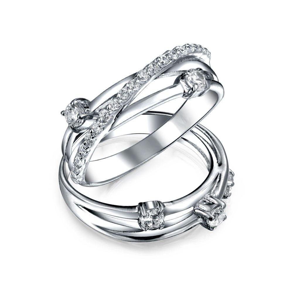 Cross Elegant Solitaire Engagement Ring Cubic Zirconia 925 Sterling Silver