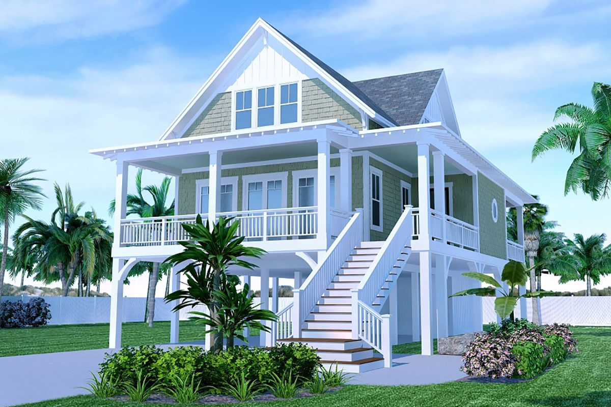 Plan 15266nc Charming 3 Bed Home Plan With Wrap Around Porch In 2020 Beach Cottage House Plans Beach House Floor Plans Coastal House Plans