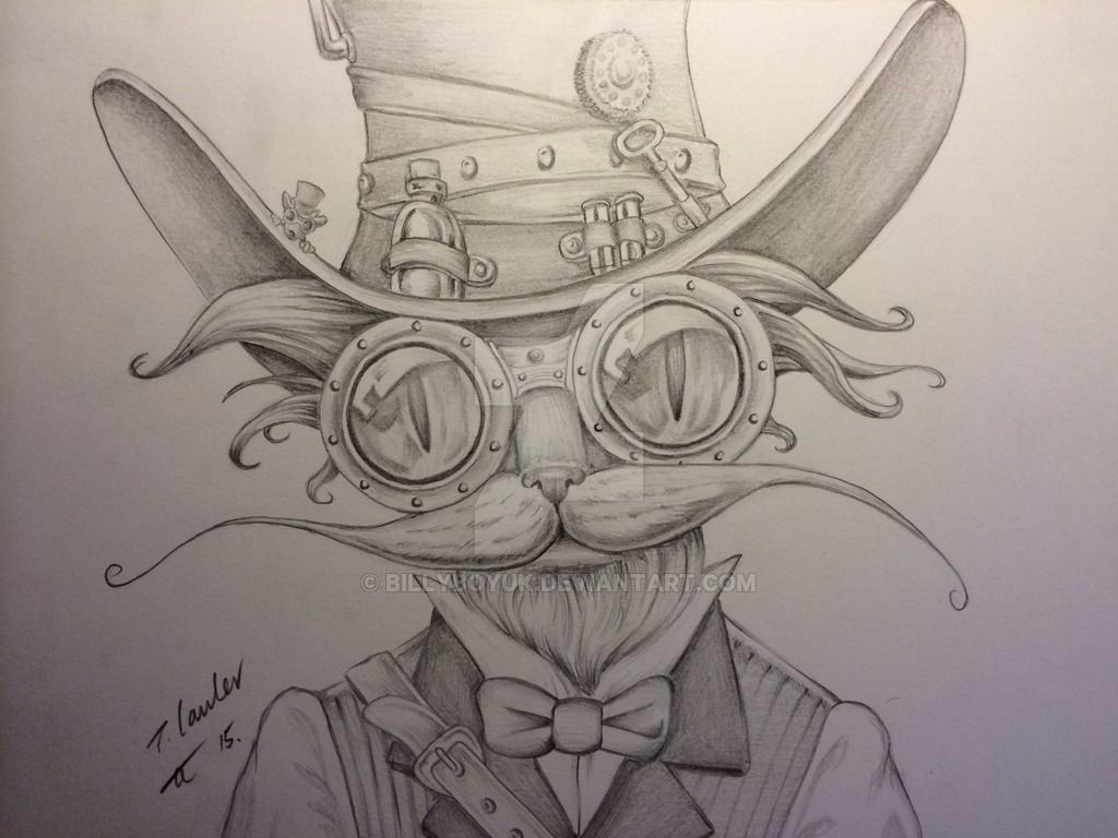 Steampunk cat blue pencil drawing by billyboyuk on ...