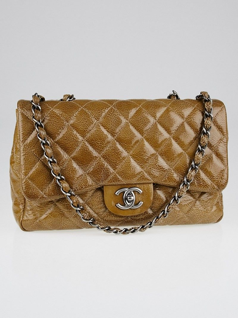 ad535124b534c9 Chanel Camel Quilted Crinkled Patent Leather Classic Jumbo Single Flap Bag