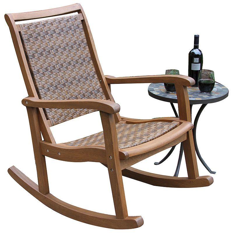 Fine Outdoor Interiors Resin Wicker And Eucalyptus Rocker Chair Cjindustries Chair Design For Home Cjindustriesco