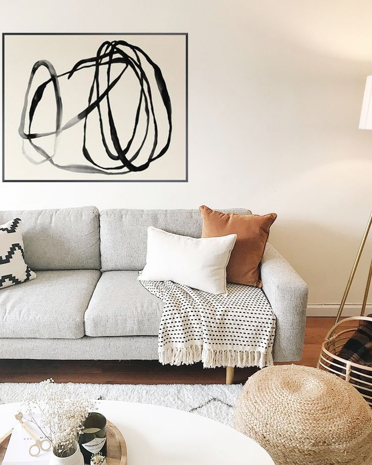 Photo of Living room | gray sofa | abstract art | Interior design and decor #abstra …