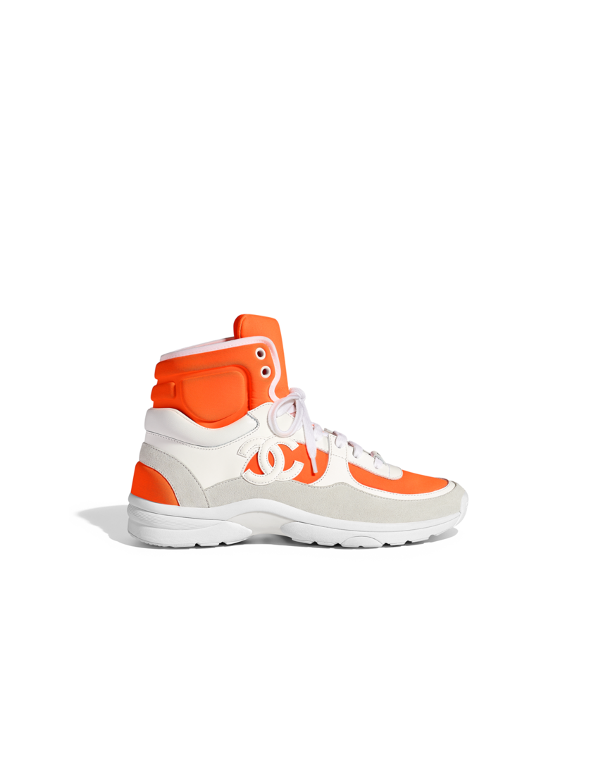 info for b86b1 c1947 Trainers, Fabric, Lambskin  Suede Calfskin-white  orange - CHANEL