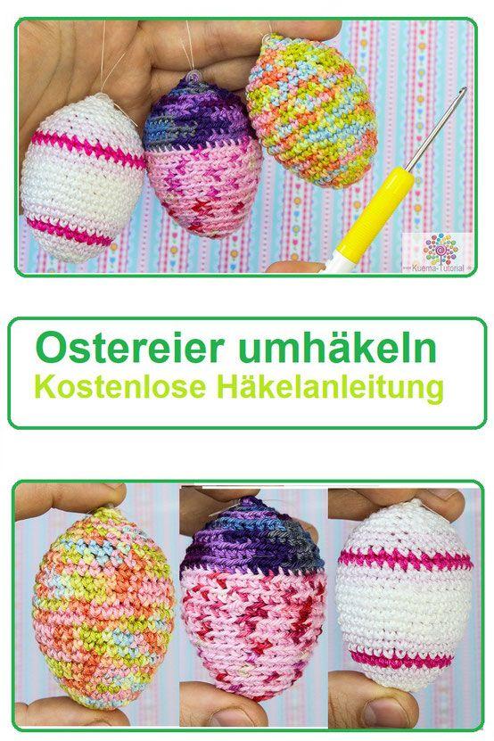 Schnell und Einfach Eier umhäkeln   Pinterest   Füllwatte, Ostereier ...