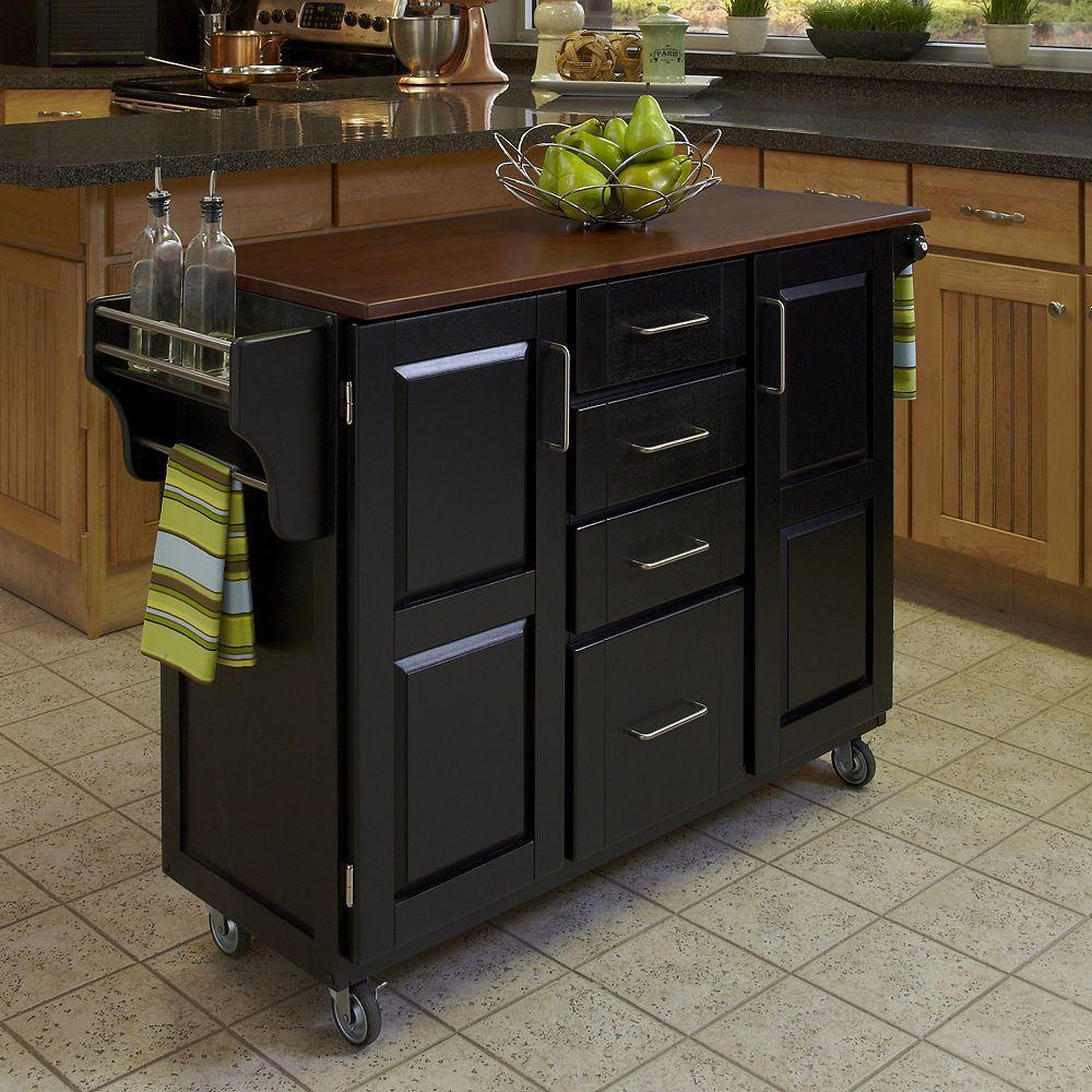 Oak Top Four Drawer Kitchen Cart Black Kitchen Tops Kitchen Cart Furniture