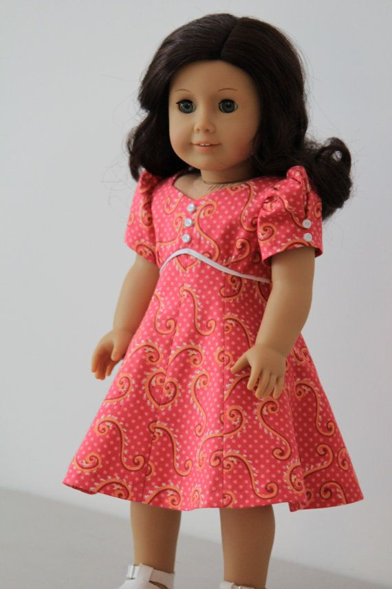 Pink print dress for American girl dolls by BabiesArtUs on Etsy, $30.00