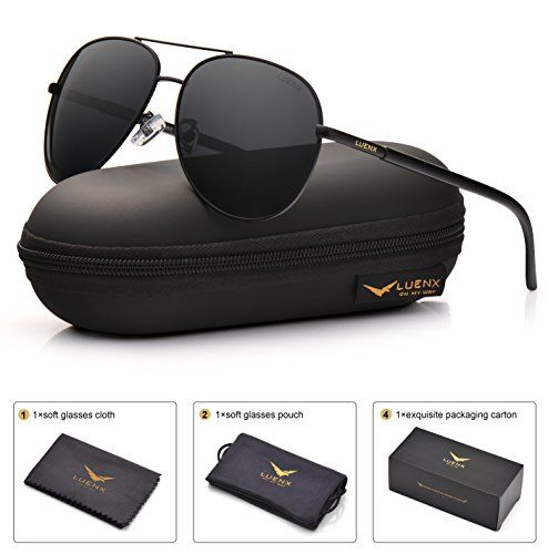 8f3a8f42d0 LUENX Aviator Sunglasses Polarized Men  UV 400 Protection 60MM Fashion Style