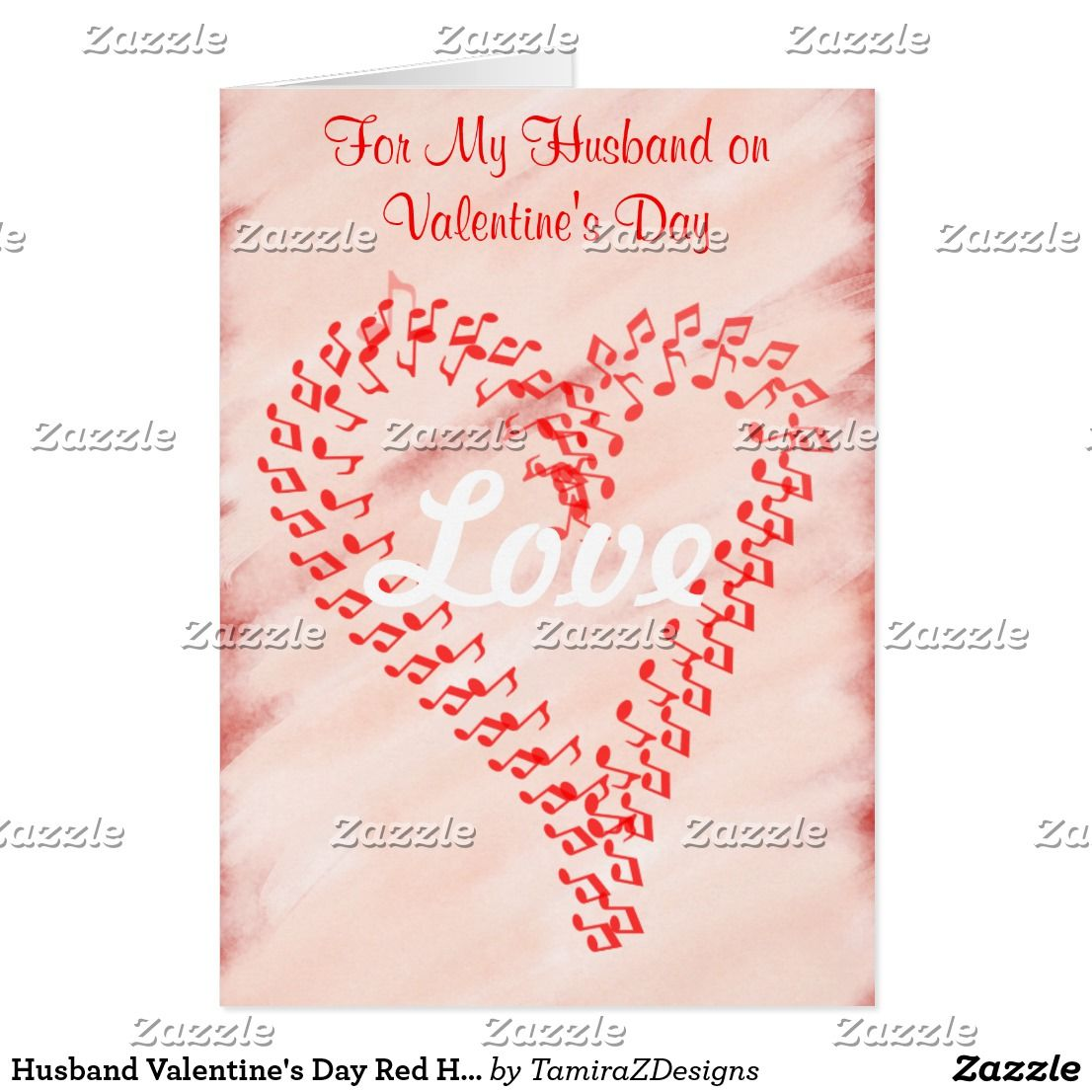 Husband Valentines Day Red Hearts Greeting Card