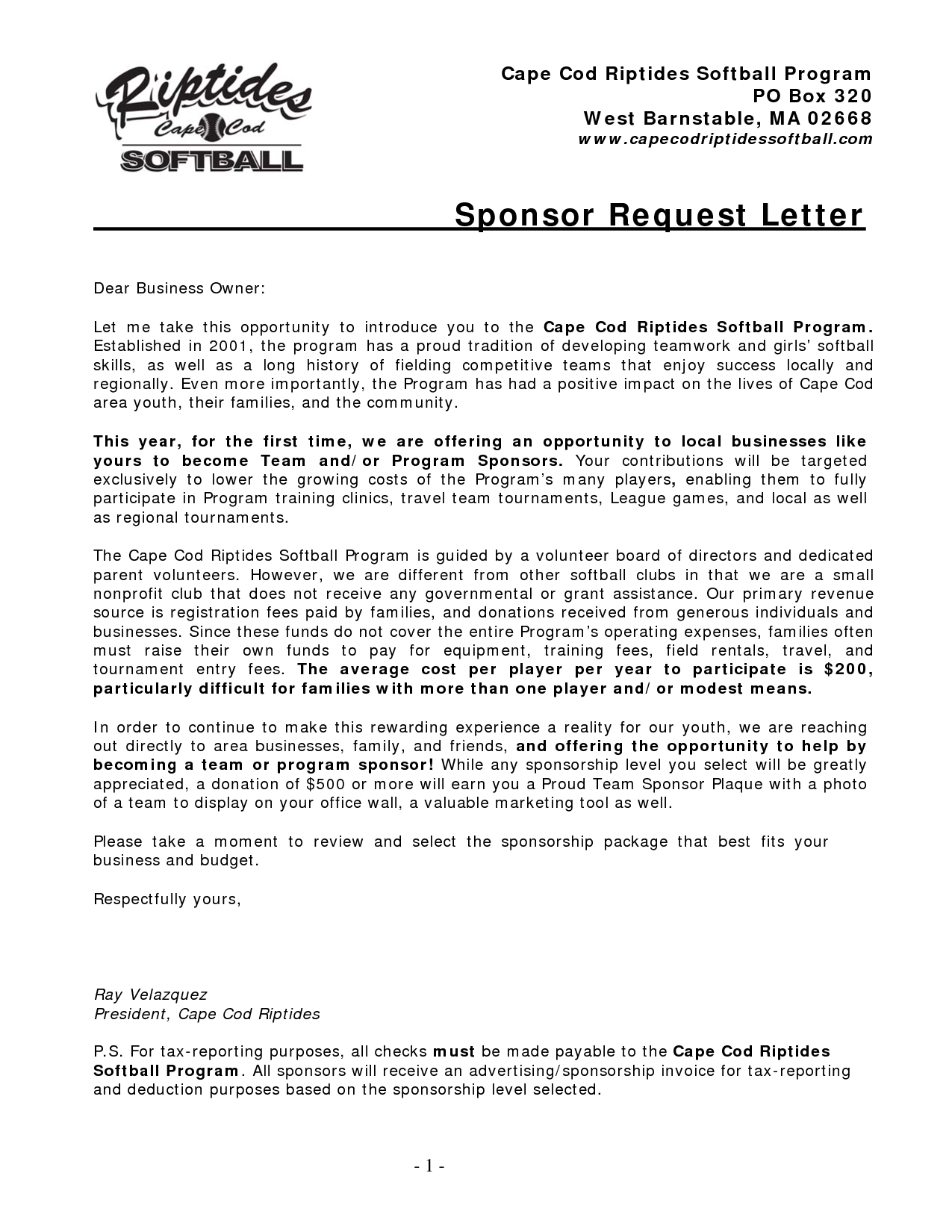 image result for sample softball sponsor request letter