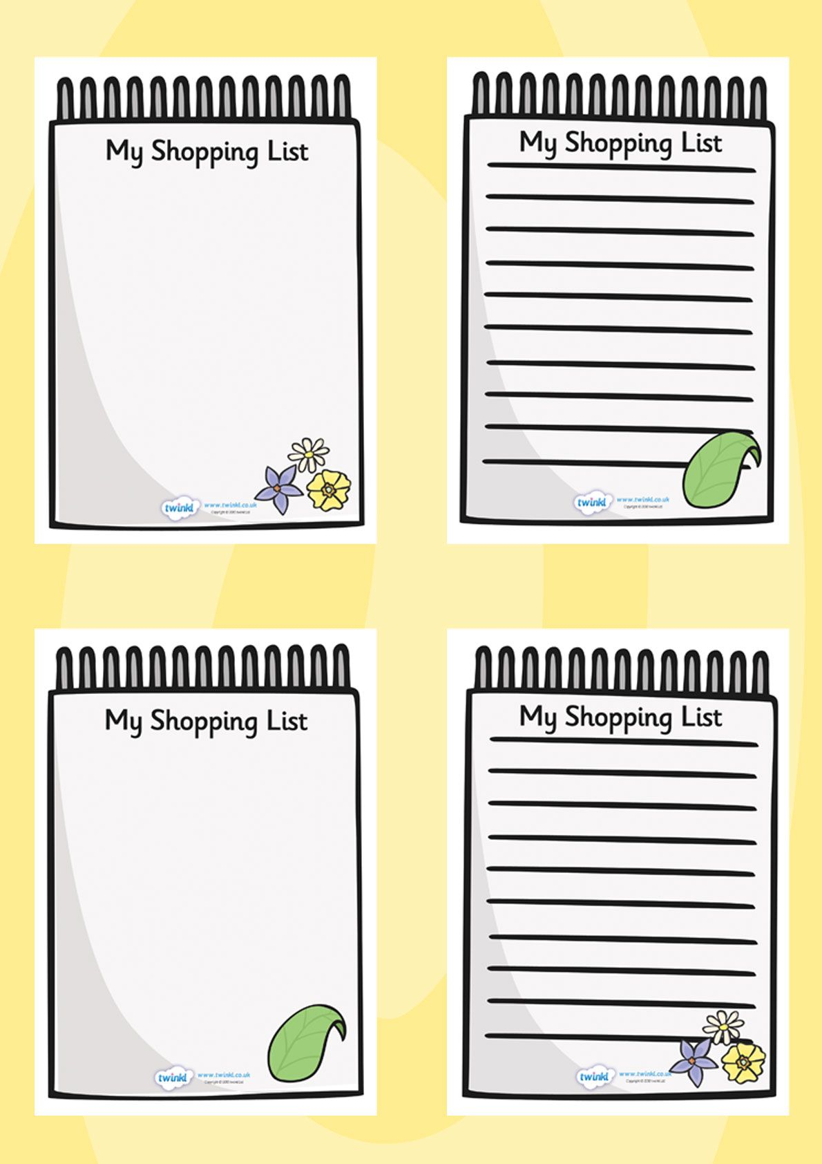 Twinkl Resources >> Role Play Shopping Lists >> Printable