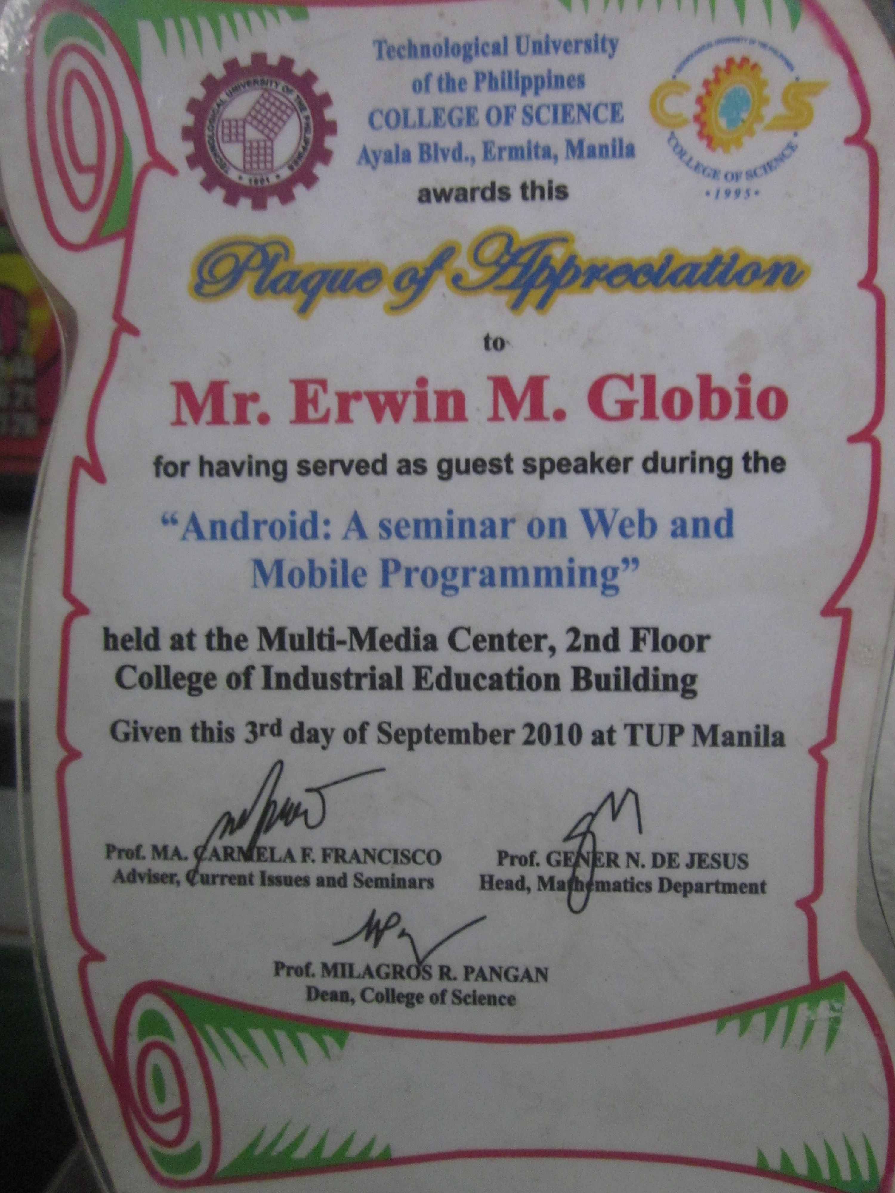 Prof erwin globios certificate of appreciation http erwin globios certificate of appreciation httpeglobiotraining yelopaper Image collections