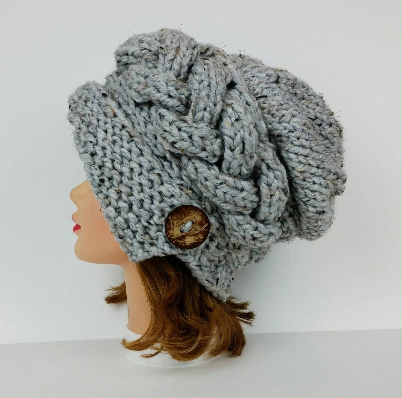 6088cf6cd5e Cloche Hat - 1920s Cloche Hat - Slouchy Hat With Button - Cable Knit Hat -  Flapper Hat - Chunky Knit Hat Women - Gray Hat - Knit Accessories by ...