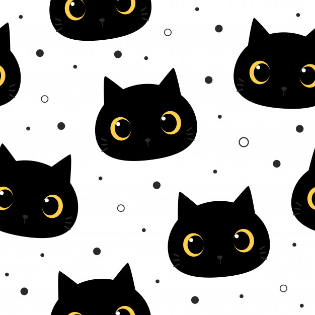 Cute Big Eye Black Cat Kitten Cartoon Doodle Seamless Pattern In