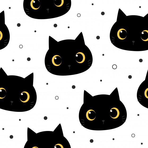 Cute Big Eye Black Cat Kitten Cartoon Doodle Seamless Pattern In
