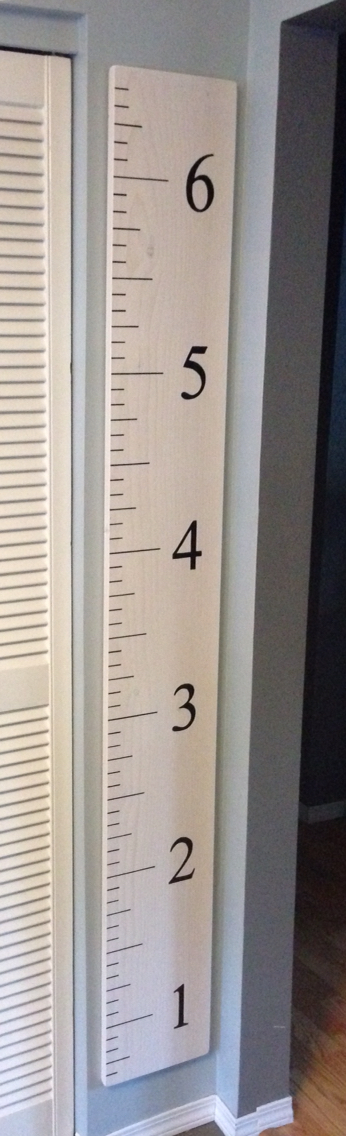 Giant Ruler Growth Chart White Washed 1 X 10 X 6 Pine And A Paint