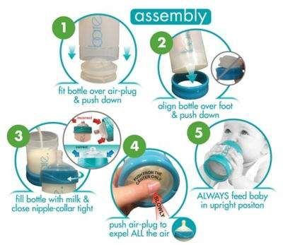 BARE® 4-Pack Polypropylene Air-Free Bottle Starter Set w/Perfe-Latch® Nipples in Turquoise #ad
