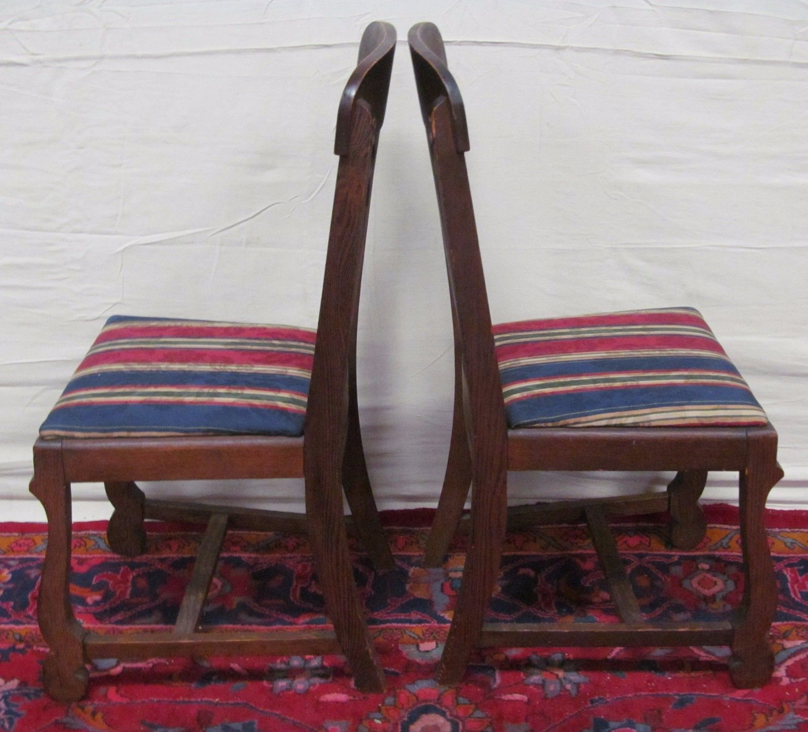 Cool Set Of 6 Victorian Tiger Oak T Back Dining Chairs Ebay Cjindustries Chair Design For Home Cjindustriesco