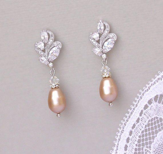 Bridal Earrings Champagne Pearl Earrings Blush Pearl Drop Earrings