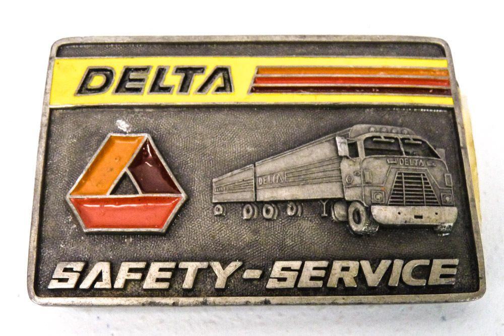Vintage DELTA Semi-Trucks Safety Service BELT BUCKLE Metal Trucker Trucking #Delta