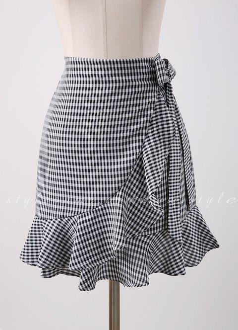 3a54724338e26 Gingham Print Ruffle Ribbon Tie Wrap Skirt