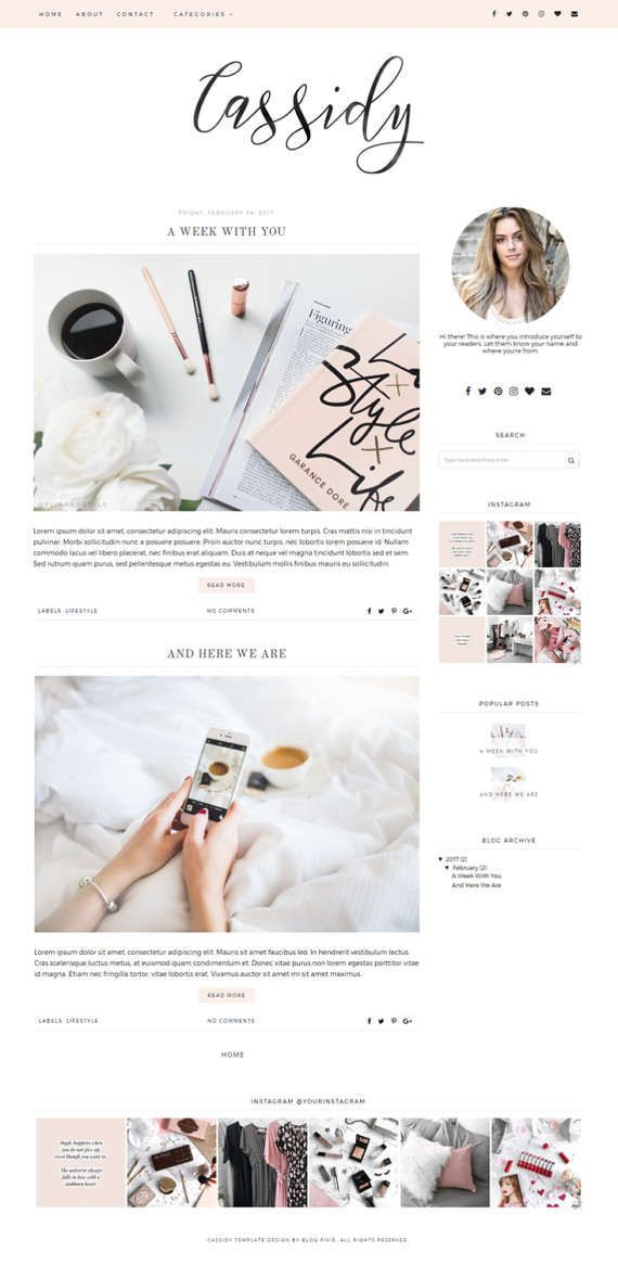 Blogger Theme  Premade Blog Templates  Blog Theme  | Etsy