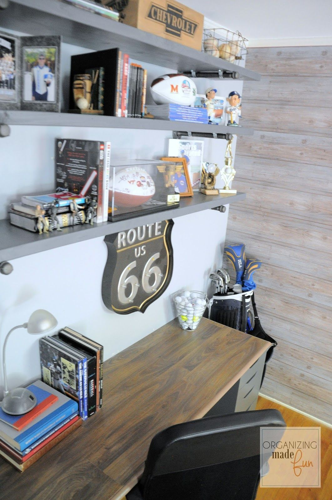 Photo of Industrial Inspired Shelving in a Teen Boy's Room :: OrganizingMadeFun…