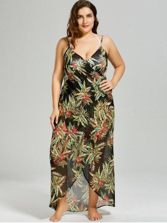 Ad Plus Size Tropical Leaf Cover Up Wrap Dress Black 5xl