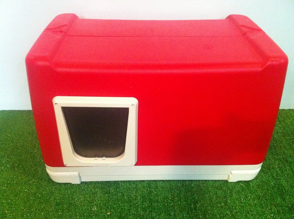 Outdoor cat house made from a cooler with a cat door