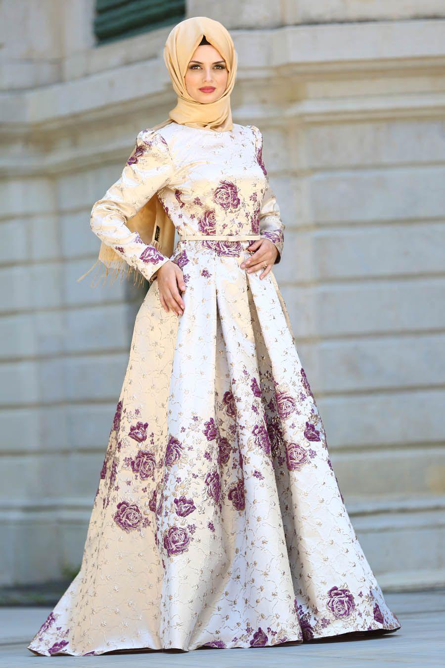 2018 Yeni Sezon Abiye Koleksiyonu Tesetturlu Abiye Elbise Cicek Desenli Ekru Tesettur Abiye Elbise 4496e Evening Dresses Dresses Muslim Dress
