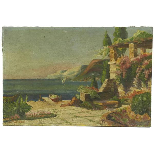 French Riviera Oil Painting by G Mattivzzi. Original French Art. (€155) ❤ liked on Polyvore featuring home, home decor, wall art, seascape paintings, seascape oil painting, sea scape paintings, french home decor and french oil painting