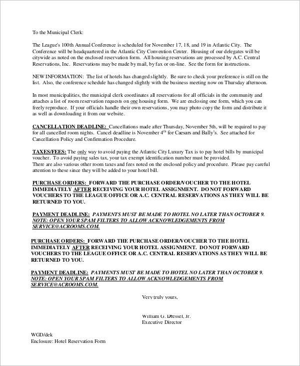 sample reservation letter examples word pdf cancellation hotel - reservation letter