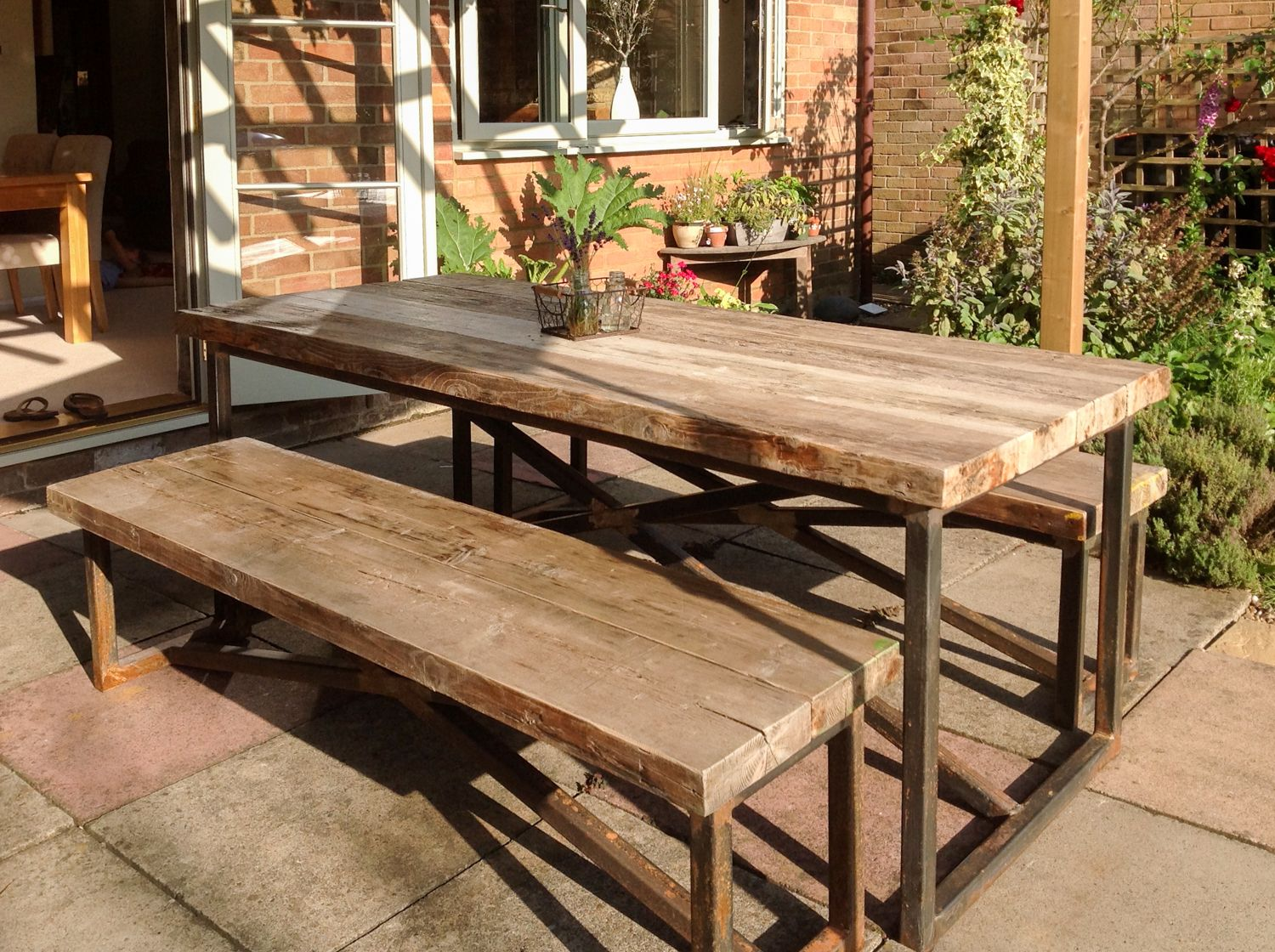 Http Www Reclaimedbespoke Co Uk Templates Prodimg Industrial Mill Style Large Garden Table Benches 01 Jpg Garden Table Bench Table Patio Inspiration