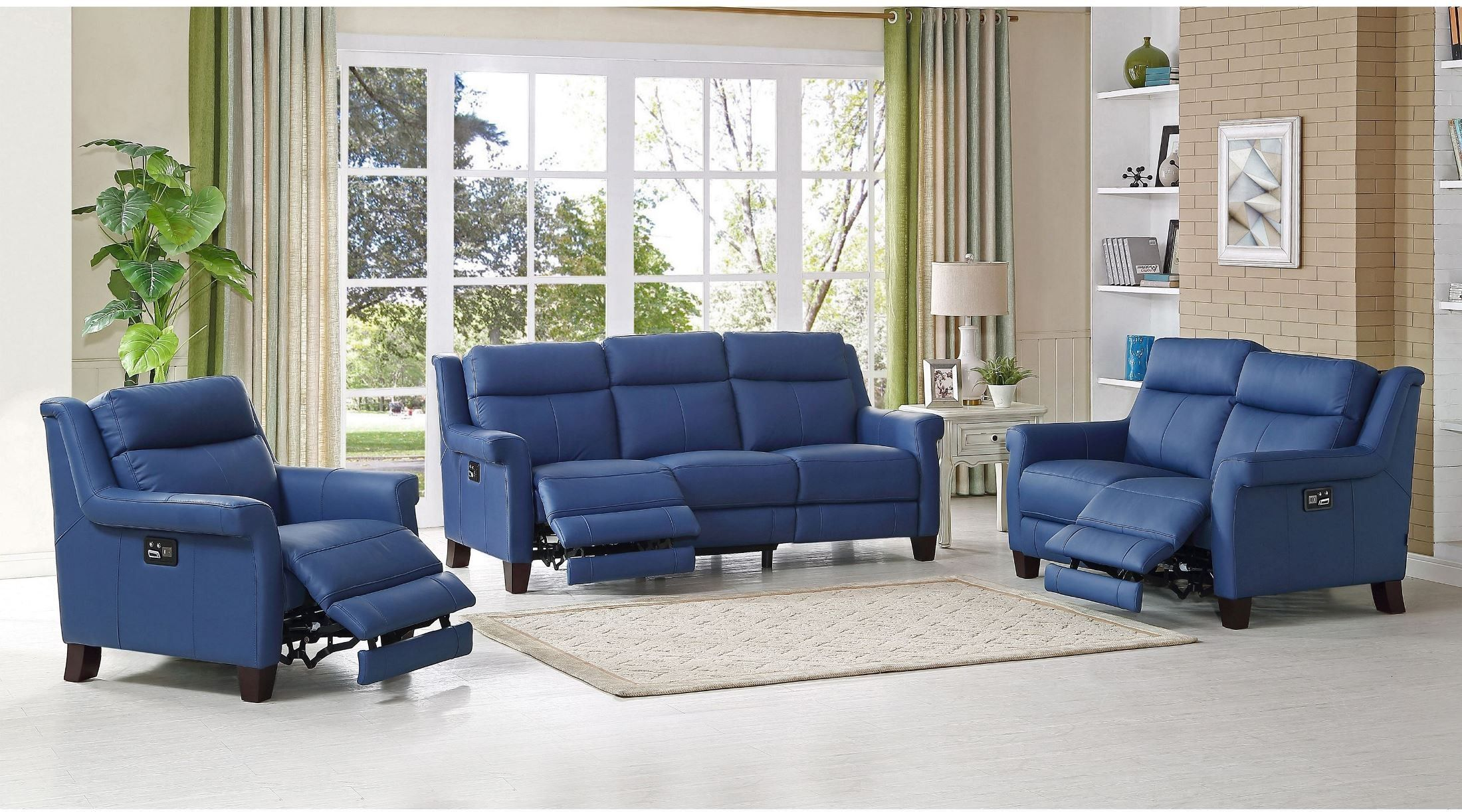 Dolce Blue Power Reclining Living Room Set Chris House - Living room sets with recliners