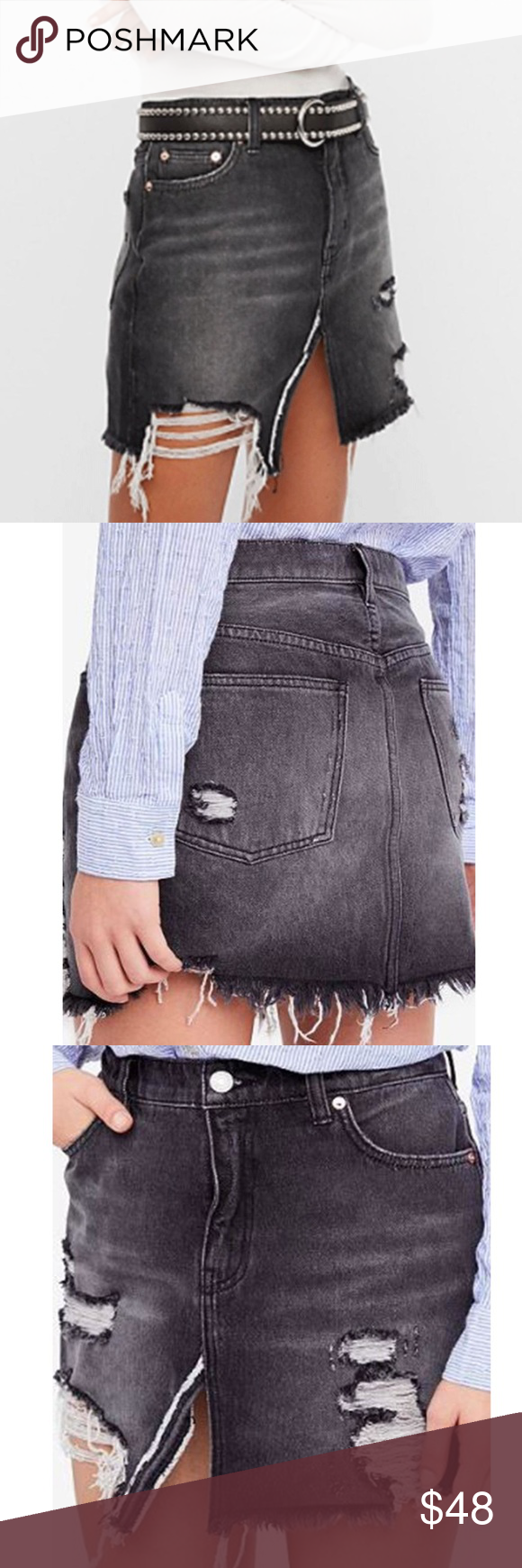 584ef4330 Free People Relaxed and Destroyed Mini Skirt 27 28 NWT faded and distressed  black and gray