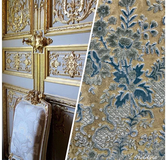 81d69e77d9d Made in Italy Novelty Brocade Damask Cut Out Velvet Fabric - Upholstery-  Teal   Flax- Sold By The Ya