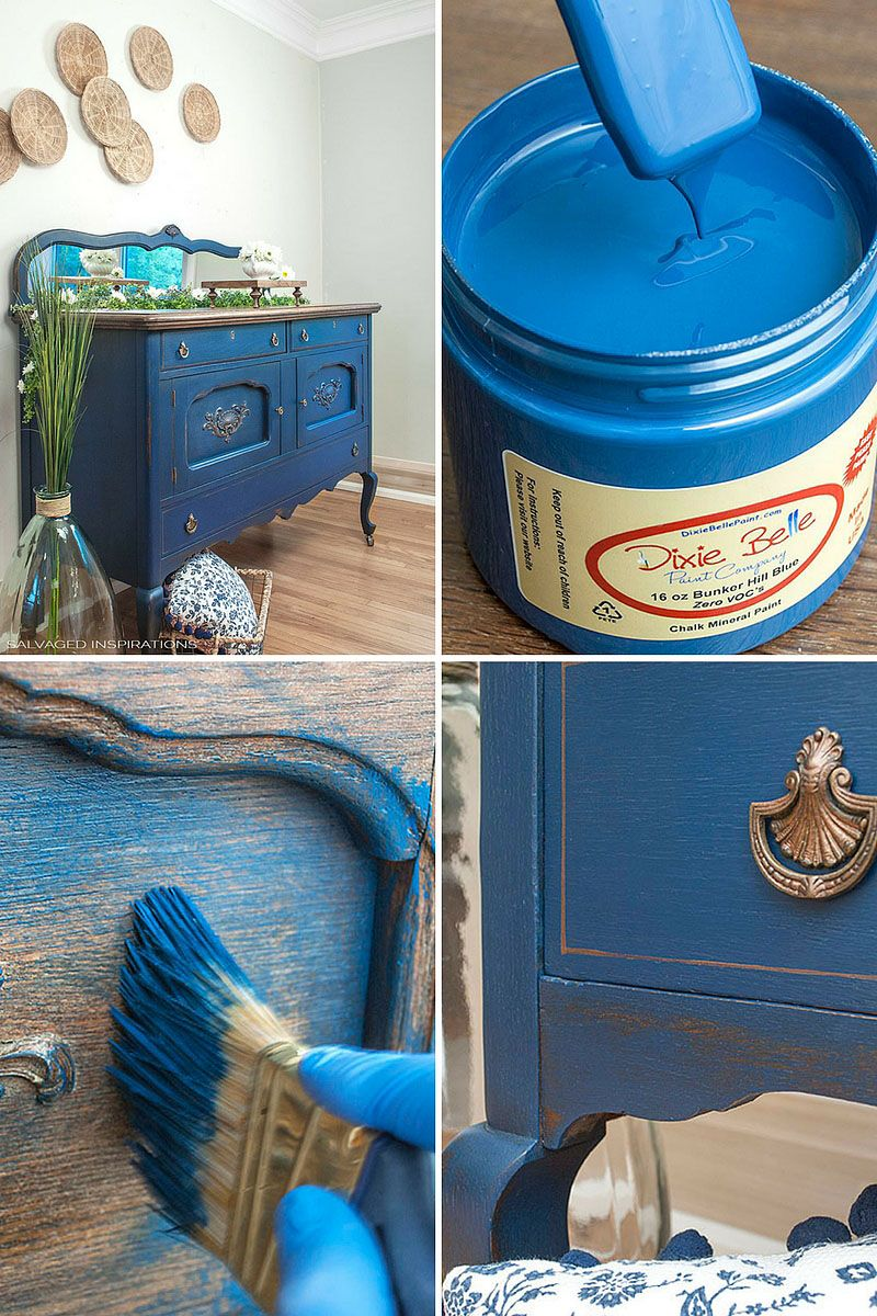 Blue Buffet & Dixie Belle Paint Giveaway! is part of Paint furniture, Furniture makeover, Chalk paint furniture, Painted furniture, Dixie belle paint, Refinishing furniture - Happy Monday friends! I hope you all had a great weekend  I'm so excited to share this Blue Buffet Makeover with you today AND a generous giveaway sponsored by Dixie Belle Paint Company! I picked this piece up from a young German family