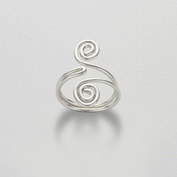 Silver Swirl Ring, Wire Wrapped Spirals, Adjustable Ring, Sterling ...