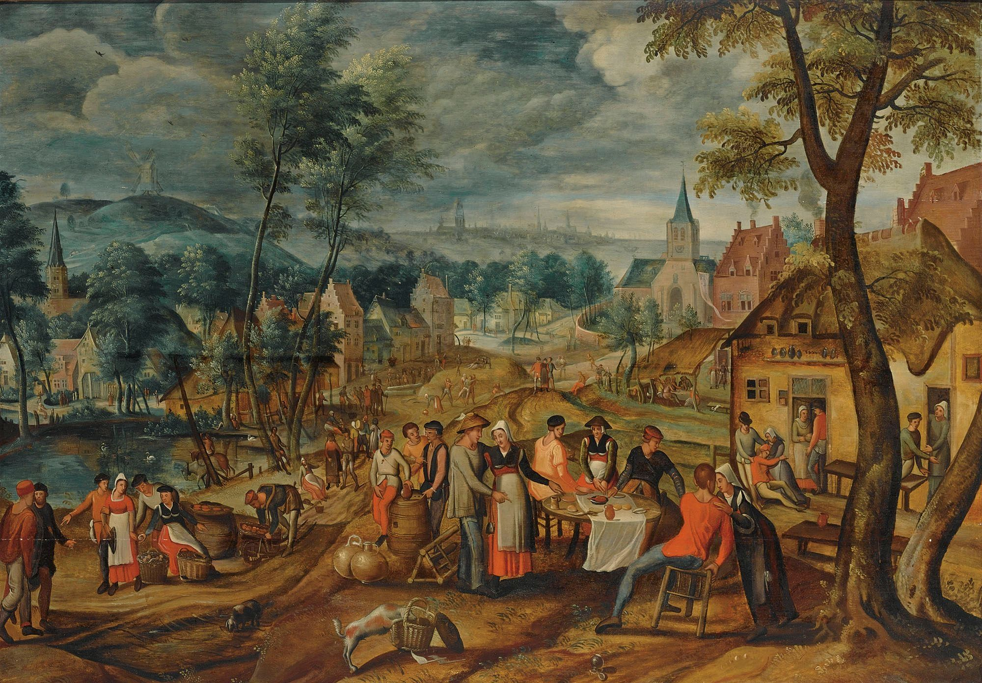 Landschaftsmalerei renaissance  ギリス・モスタアート (Gillis Mostaert)「A village scene with ...