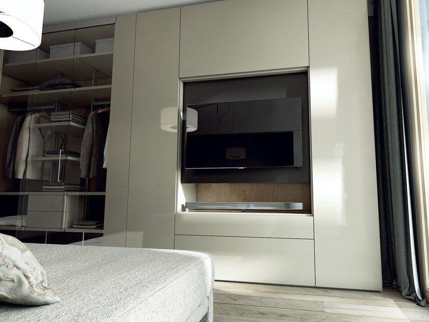 Armoire Chambre Avec Tv armoire composable laquée en bois et verre avec tv intégré roomy