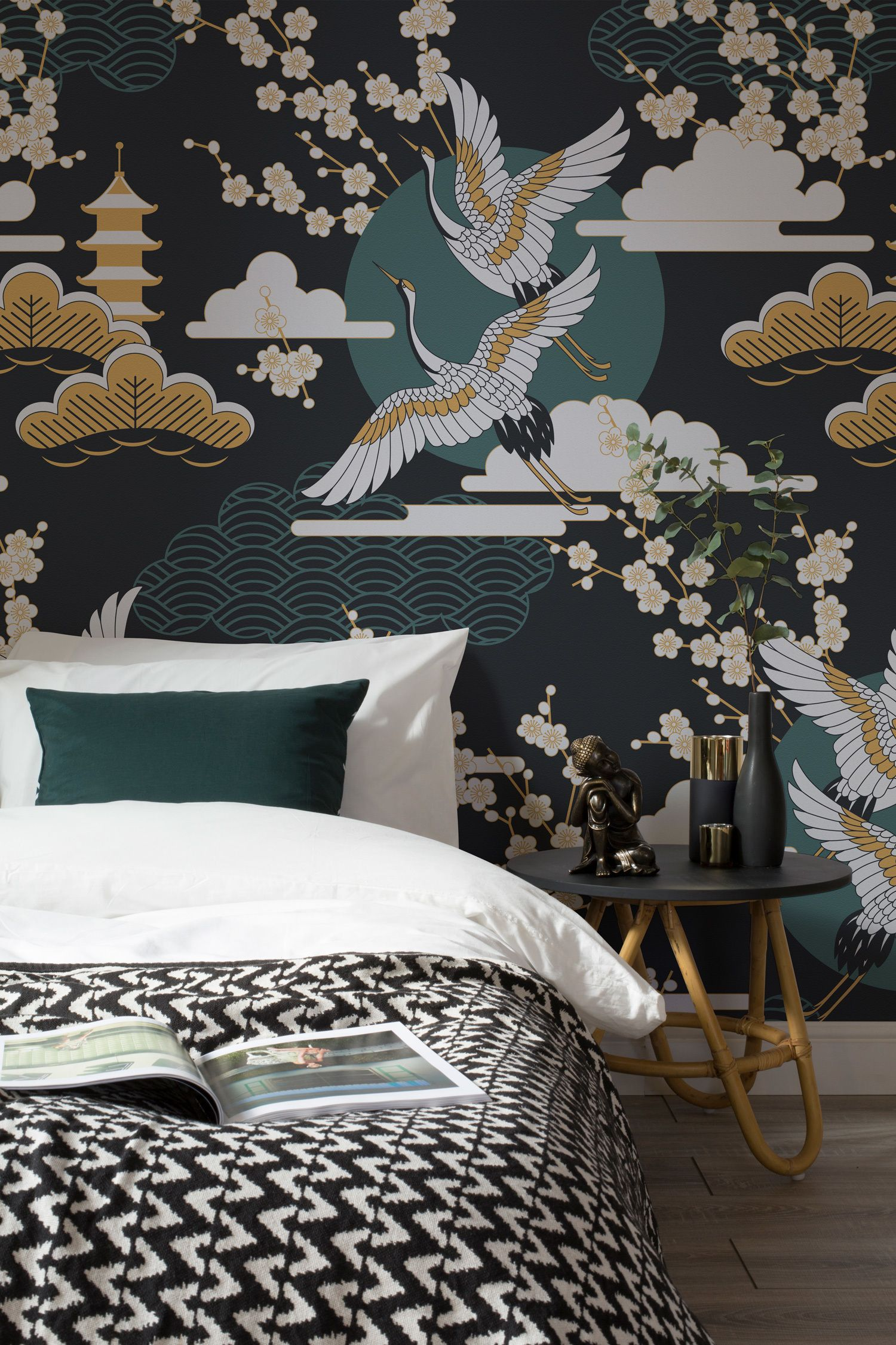 Dark And Luxurious Tones Of Emerald Green Emerge From This Decadent Oriental Wallpaper Design Pair With Black And Gold Accessories To Complete The Look