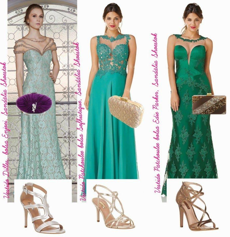 A cor de bolsa, sandália e maquiagem para usar com vestido verde