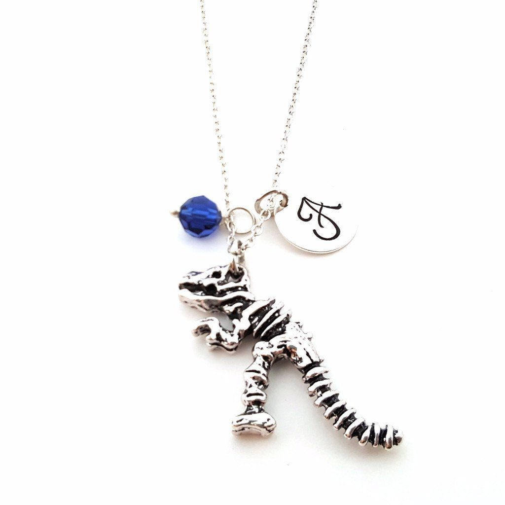 T Rex Dinosaur Skeleton Charm Personalized Sterling Silver Necklace Silver Rings Handmade Sterling Silver Necklaces Where To Buy Silver