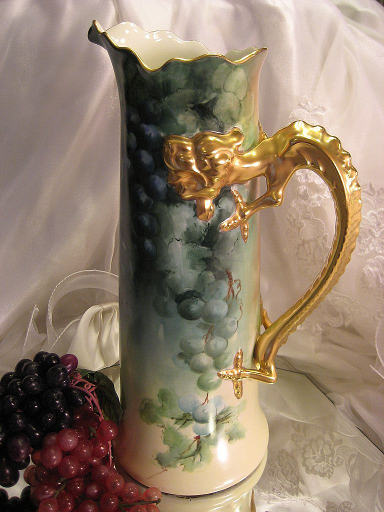 """MAGNIFICENT LUSCIOUS GRAPES"" Absolutely Gorgeous Antique LARGE Jean Pouyat Limoges France Grapes Hand Painted Tankard Dragon Handle Spectacular Heirloom Treasure Circa 1900....1,295"